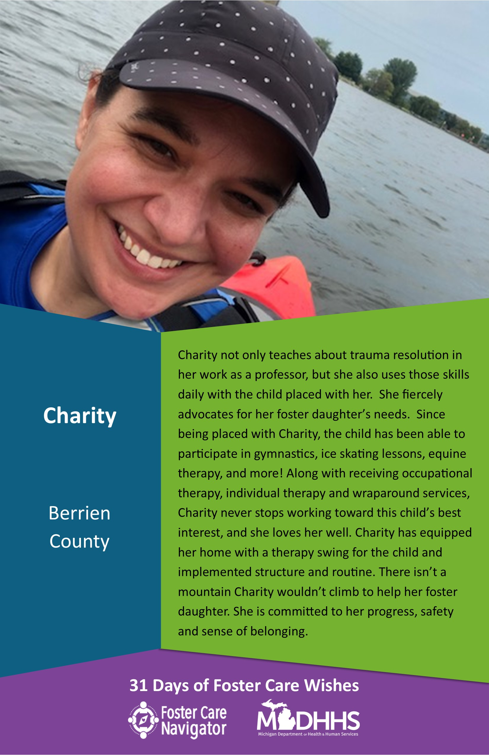 This full page feature includes all of the text listed in the body of this blog post as well as a photo of Charity. The background is blue on the left, green on the right, and purple at the bottom of the page where the logos are located.