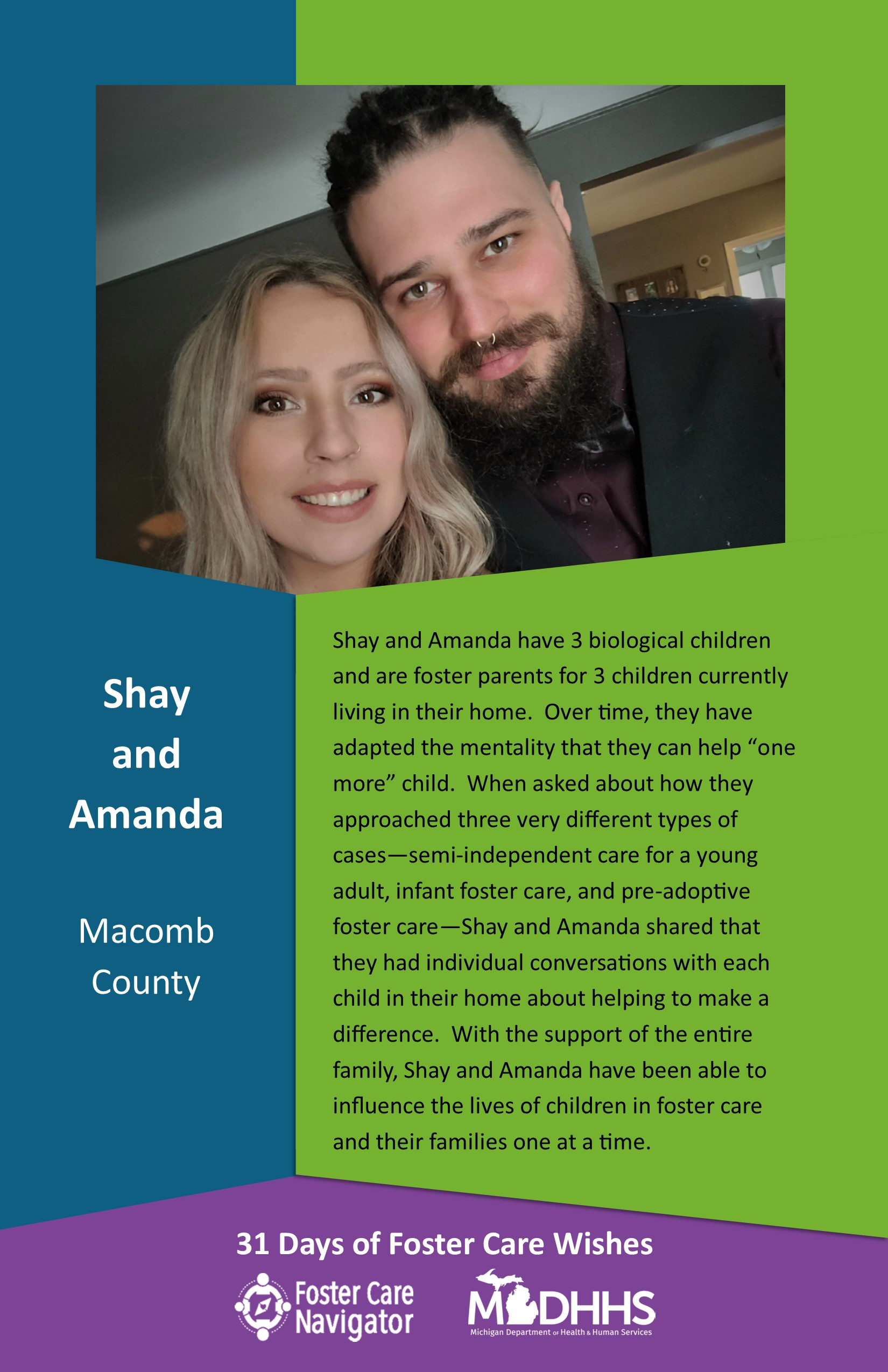 This full page feature includes all of the text listed in the body of this blog post as well as a photo of Shay and Amanda. The background is blue on the left, green on the right, and purple at the bottom of the page where the logos are located.